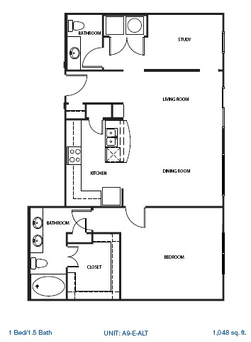 1,050 sq. ft. 3B1 floor plan