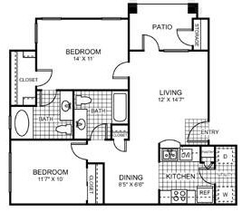 885 sq. ft. Sunflower floor plan