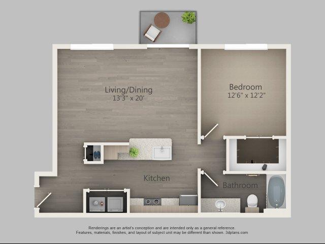 798 sq. ft. Birch floor plan