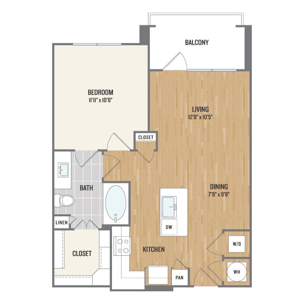 740 sq. ft. A5 floor plan