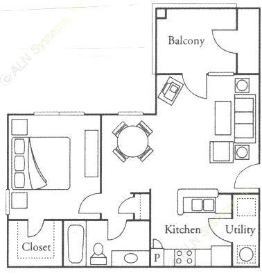 639 sq. ft. Orchid floor plan