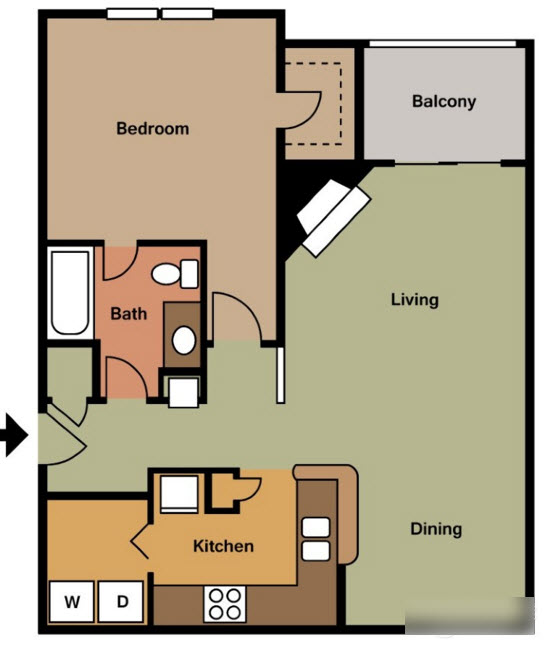 795 sq. ft. A floor plan