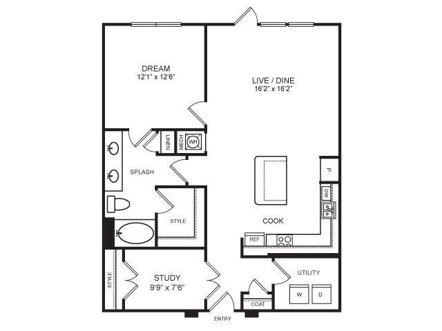 1,058 sq. ft. Dallas floor plan