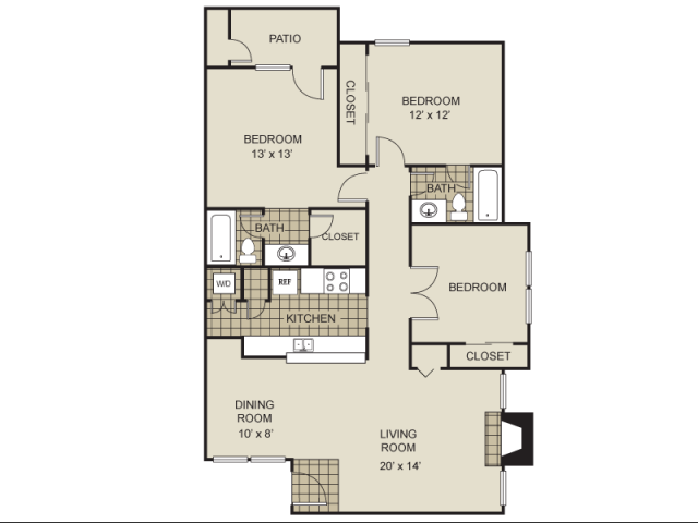 1,210 sq. ft. C1-C floor plan