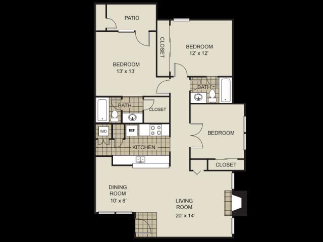 1,210 sq. ft. C1-C floor plan