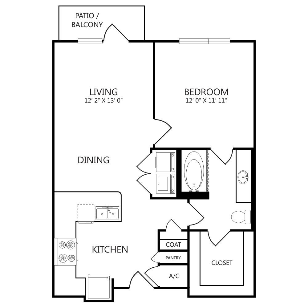 794 sq. ft. A3 floor plan