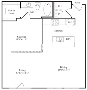 889 sq. ft. G floor plan