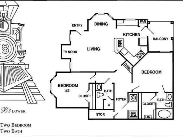 1,101 sq. ft. B7 floor plan
