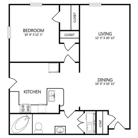 588 sq. ft. A2 floor plan