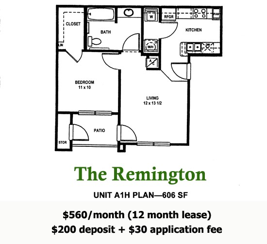 606 sq. ft. REMINGTON floor plan