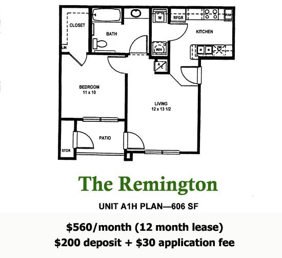 606 sq. ft. Remington floor plan