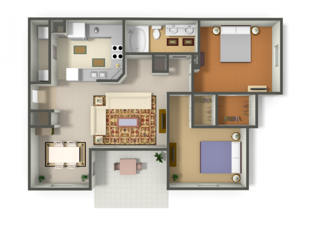 889 sq. ft. COZUMEL (B1) floor plan