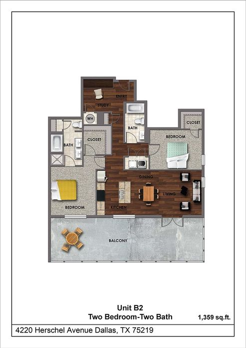 1,359 sq. ft. B2 floor plan