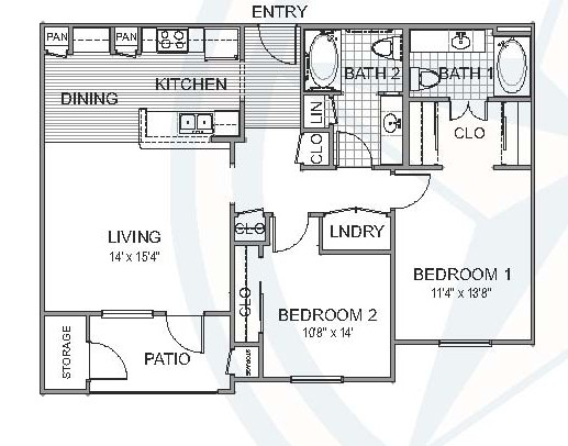 1,025 sq. ft. Willow floor plan