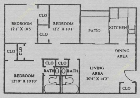 1,053 sq. ft. C2 floor plan
