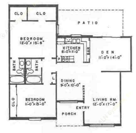 1,240 sq. ft. B5 floor plan