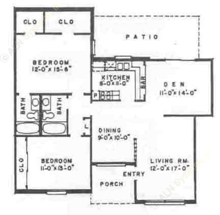 1,240 sq. ft. B5 floor plan