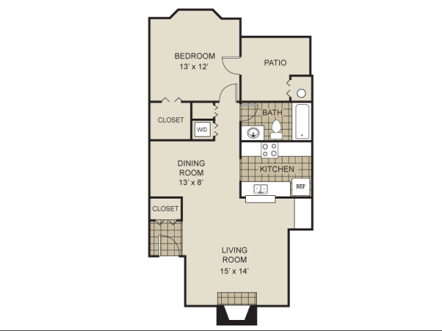 720 sq. ft. A1-A floor plan