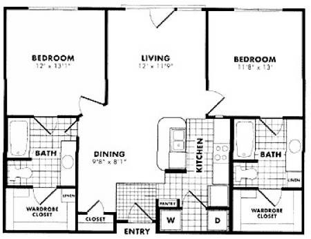 1,029 sq. ft. to 1,098 sq. ft. B1 floor plan
