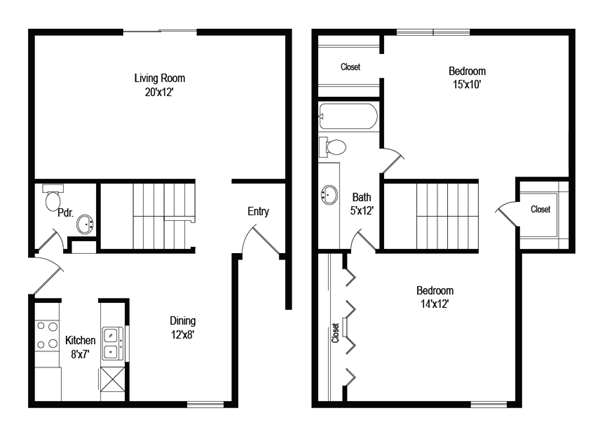 1,107 sq. ft. B6 floor plan