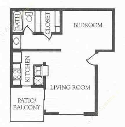 503 sq. ft. A floor plan