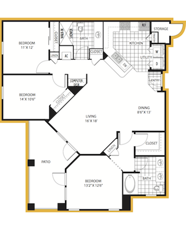 1,327 sq. ft. Venice floor plan