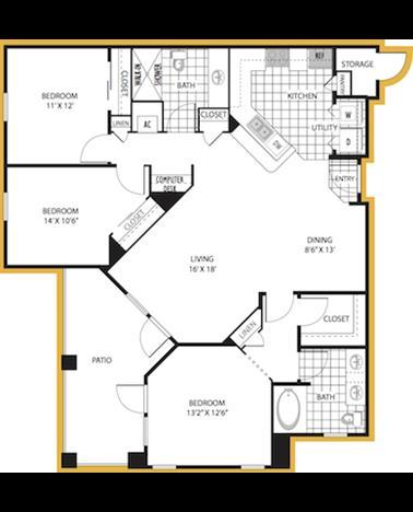 1,327 sq. ft. Venice floor plan