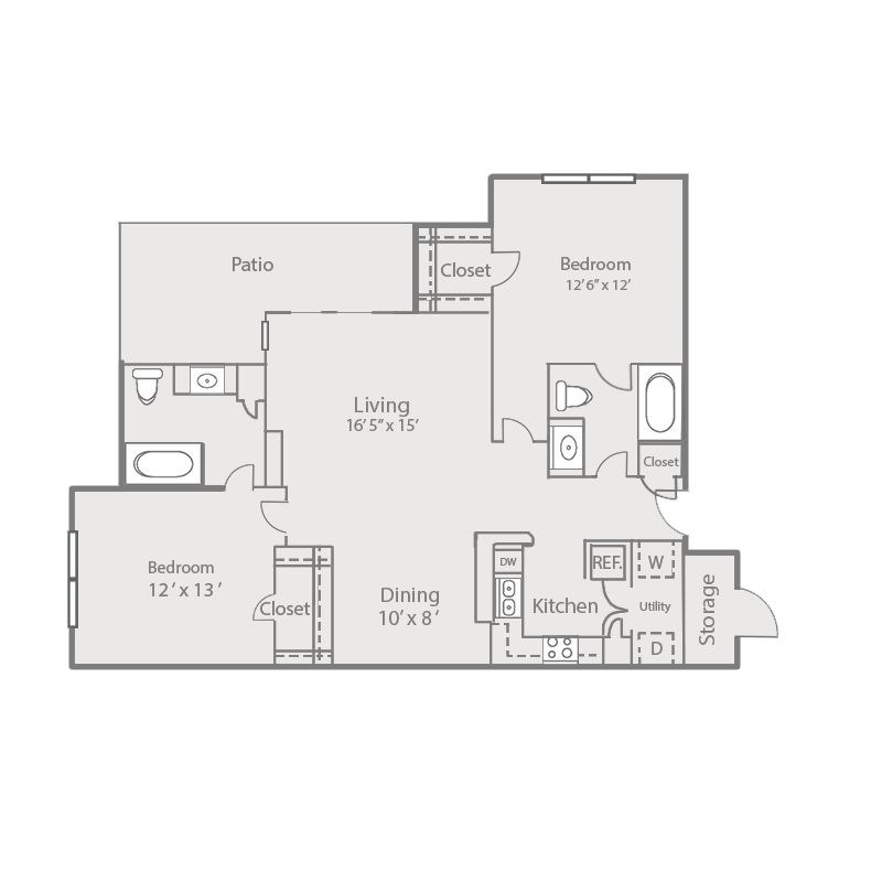 1,038 sq. ft. B2/ELM floor plan