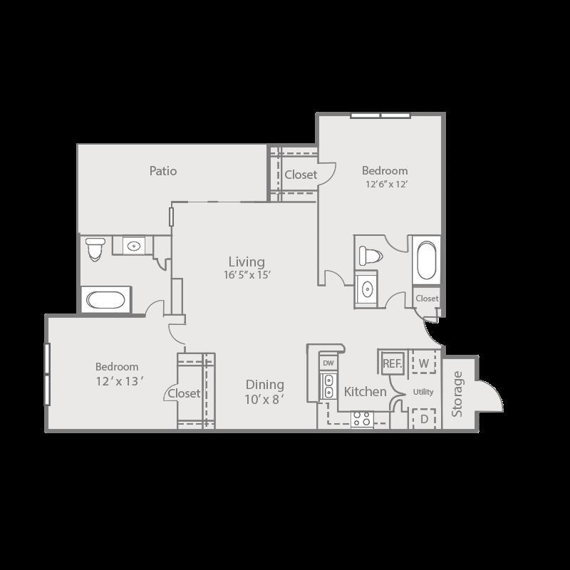 1,038 sq. ft. B2/Elm floor plan