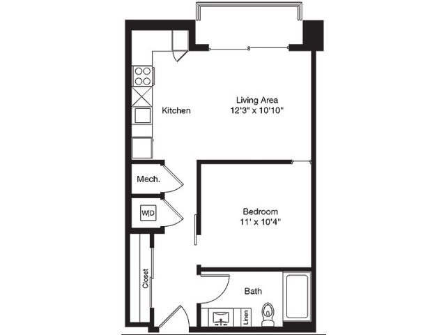 562 sq. ft. B floor plan