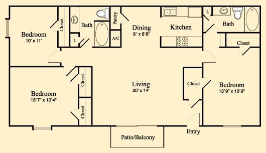 1,207 sq. ft. F floor plan