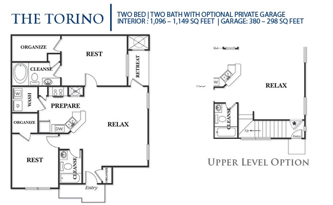 1,096 sq. ft. B1L-Torino floor plan