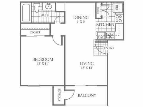 607 sq. ft. A floor plan