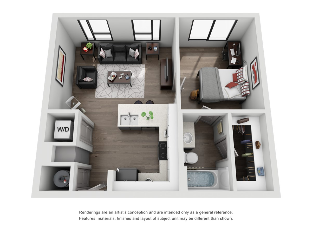 640 sq. ft. A2-Independent floor plan