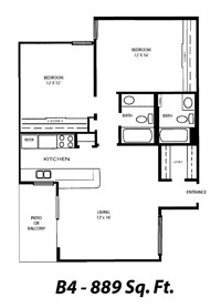 889 sq. ft. B4 floor plan