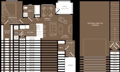 762 sq. ft. to 785 sq. ft. London floor plan