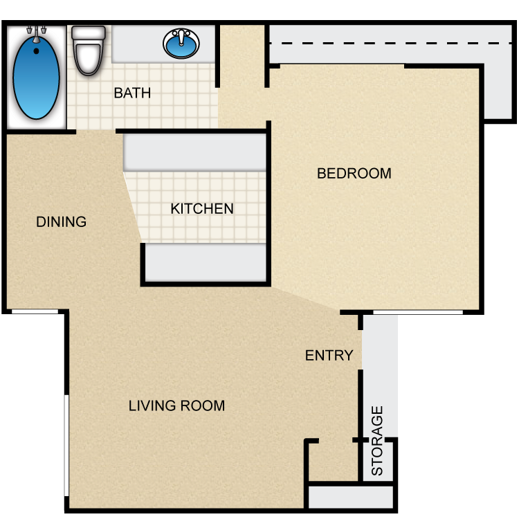 750 sq. ft. Durango floor plan