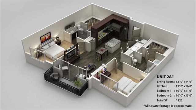 1,122 sq. ft. 2A1 floor plan