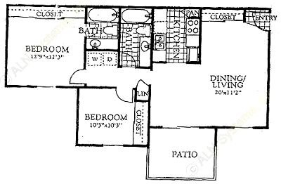 828 sq. ft. B2 floor plan