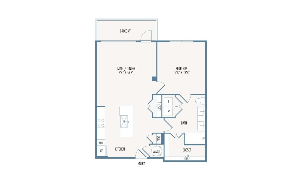 874 sq. ft. A5 floor plan