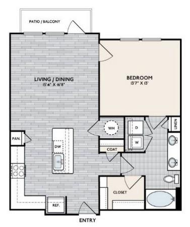863 sq. ft. A3 floor plan