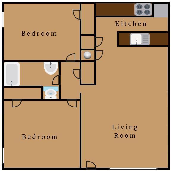 710 sq. ft. floor plan