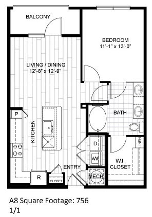 756 sq. ft. A8 floor plan