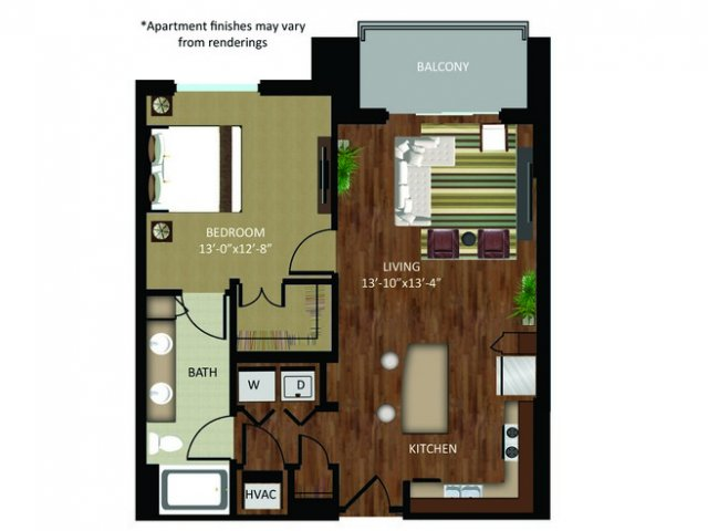 838 sq. ft. A15 floor plan