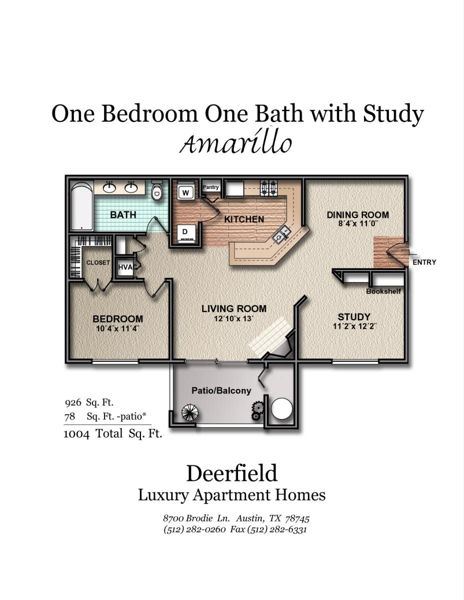 926 sq. ft. Amarillo floor plan