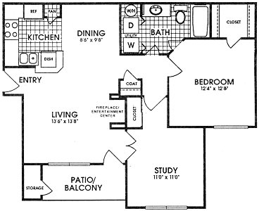 860 sq. ft. REMINGTON floor plan