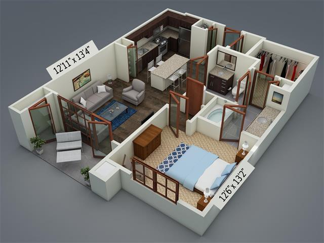 789 sq. ft. A6 floor plan