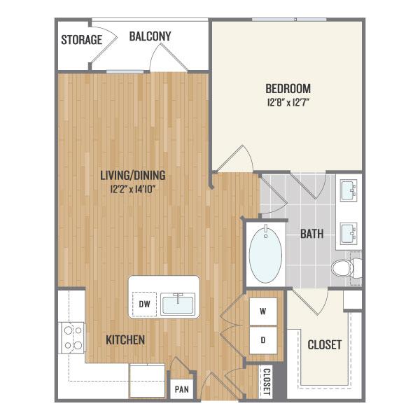 724 sq. ft. A3 floor plan