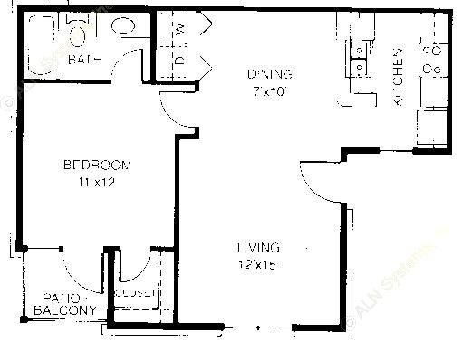 638 sq. ft. A1 floor plan
