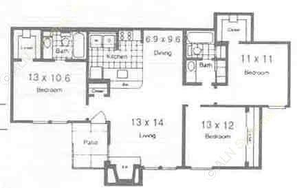 1,100 sq. ft. C1 floor plan